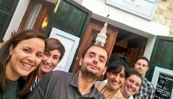 En el Restaurante María Salinas de Mancor, con María y Andrea.
